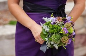 Natural Green Bouquet with Succulents and Scabiosa Pods