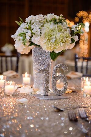 Silver Glitter Table Number and Vase