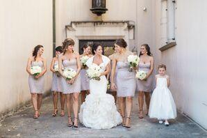 Strapless Cream David's Bridal Bridesmaid Dresses