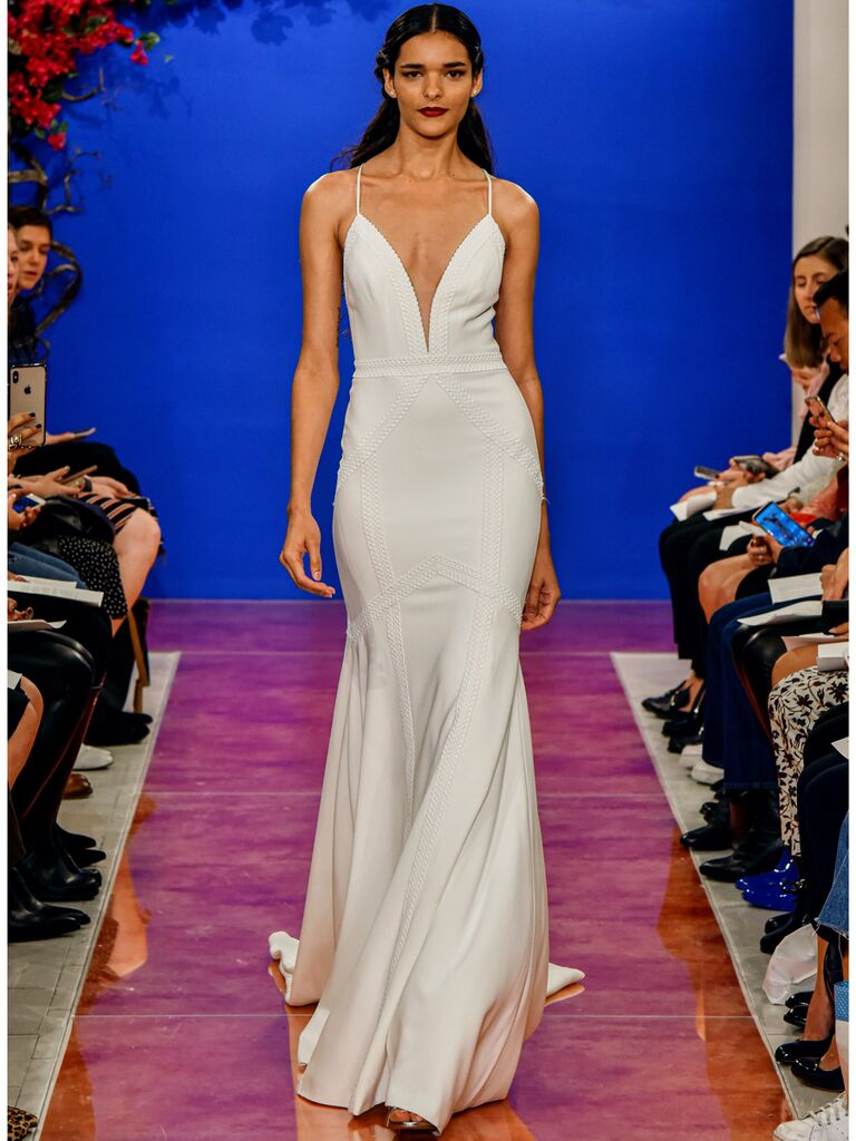 theia wedding dress plunge neckline