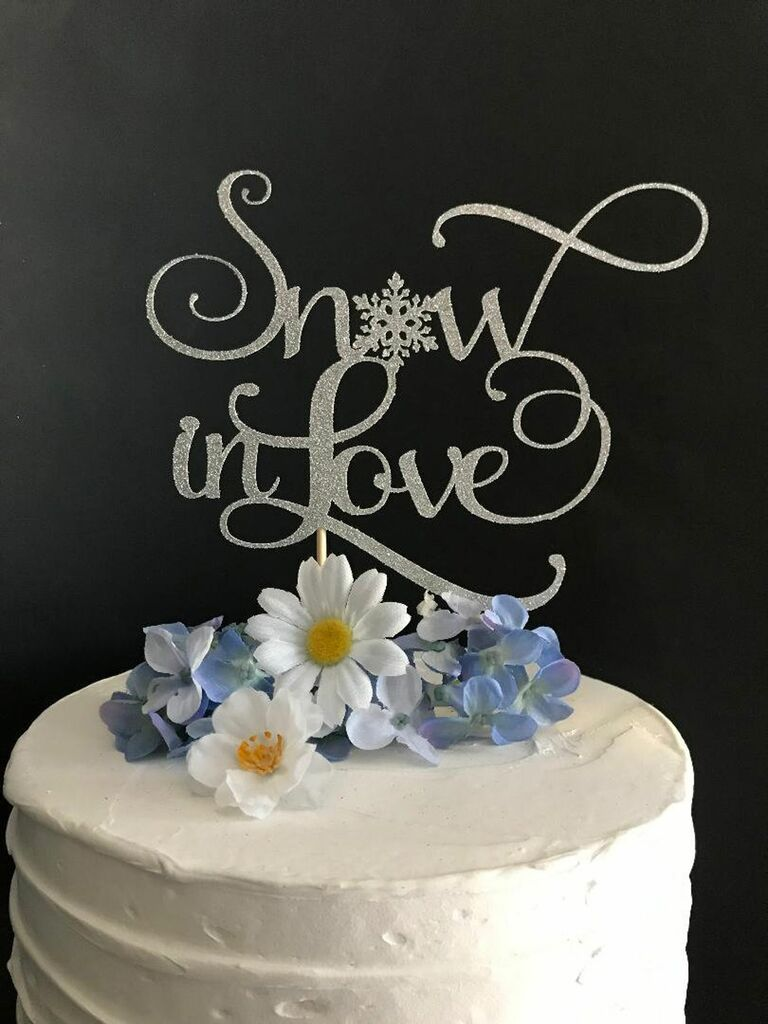 snow in love cake topper