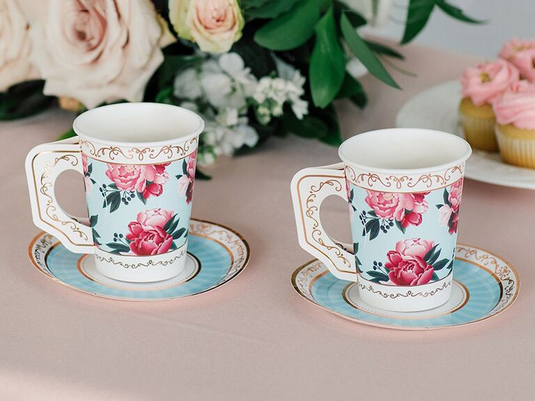 the knot shop set of 8 floral paper teacups with handles and saucers for paris themed bridal shower