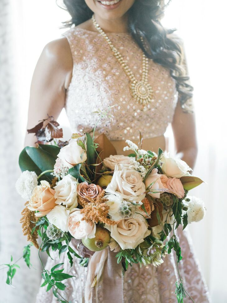 Bouquet With Roses, Magnolia Leaves and Scabiosa Pods