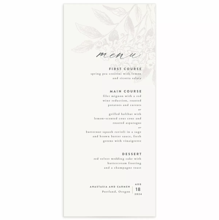 Light gray botanical floral detail on white background with menu items in minimalist black type