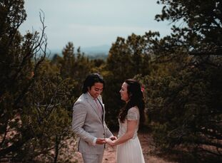 """Caitlin Clark and Phillip Hernandez lived in Washington, DC, but they headed south for a destination wedding in Santa Fe. """"I grew up in New Mexico, an"""