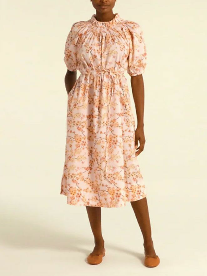 Pink cherry blossom-printed puff sleeve midi fall wedding guest dress