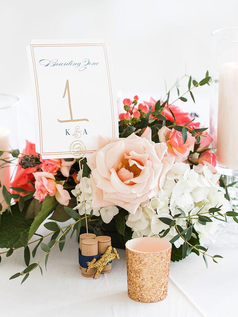 DIY wedding reception cork table numbers