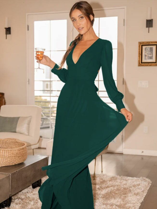 Long sleeve emerald maxi fall wedding guest dress with open back