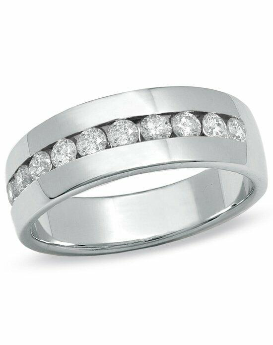 Zales Men s 1 CT T W Channel Set Diamond Wedding Band in 14K White Gold