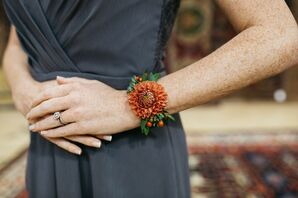Corsage at Wedding at Material Culture in Philadelphia, Pennsylvania