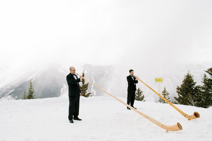 Alphorns played as the guests arrived for the ceremony, a subtle nod to their mountain venue.