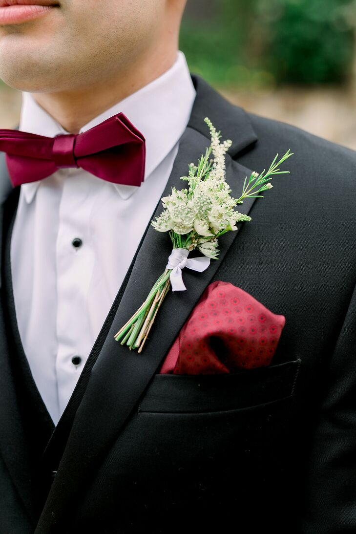 Boutonniere and Burgundy Bow Tie for Florida Wedding