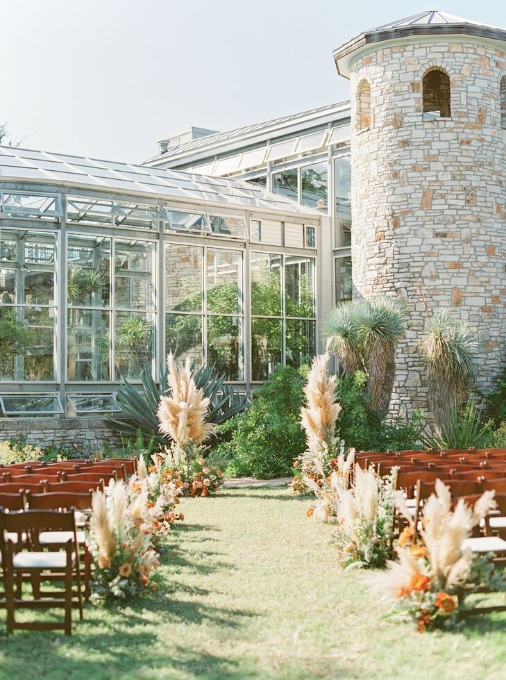Pampas Grass Aisle Arrangements for Wedding Ceremony at The Greenhouse at Driftwood