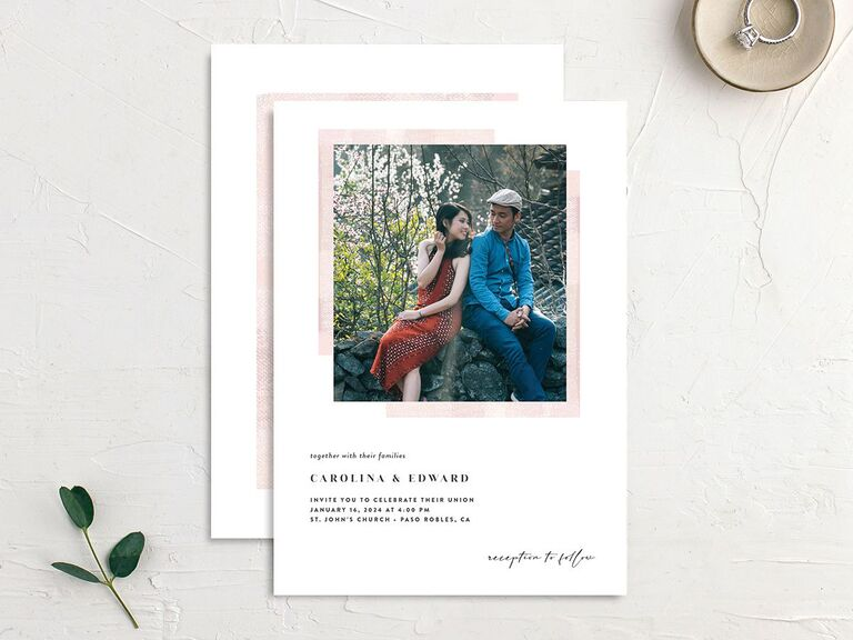 Custom photo wedding invitation with white background and pale pink frame