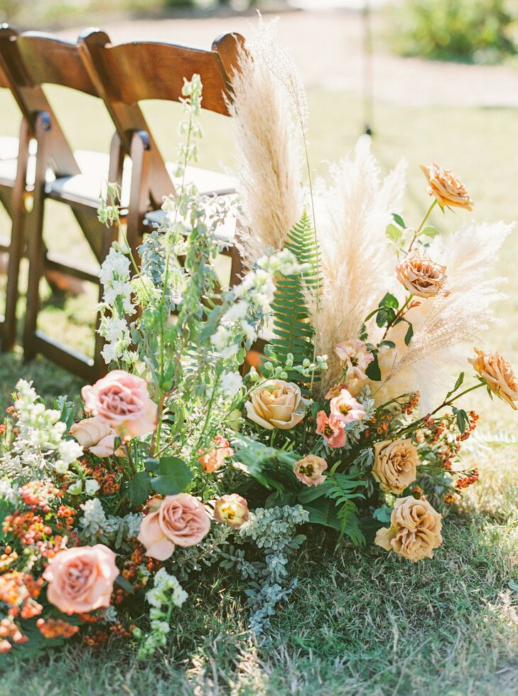 Boho Aisle Arrangements for Ceremony at The Greenhouse at Driftwood
