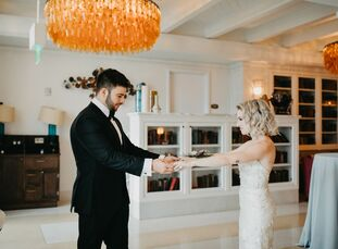 """ErinChiet and Jeremy Bloom wanted their day to feel like """"an intimate lounge"""" instead of a wedding. Their low-key and colorful celebration drew inspi"""