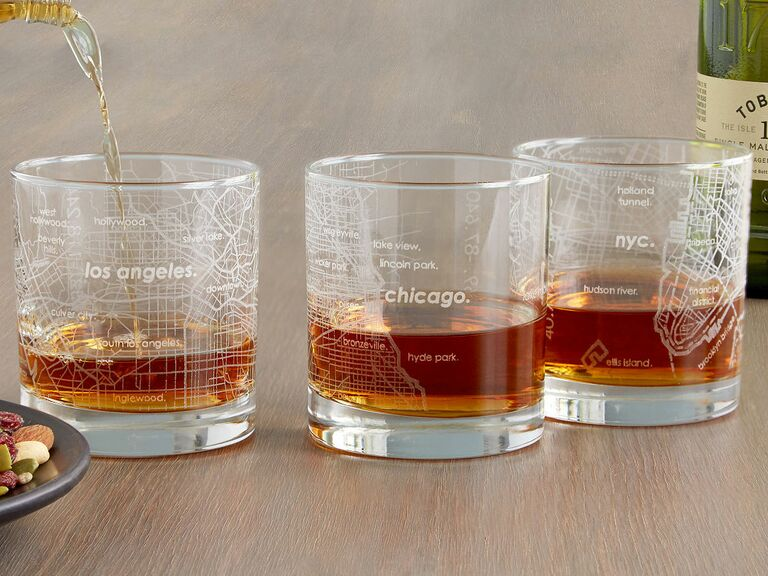 city map etched glasses
