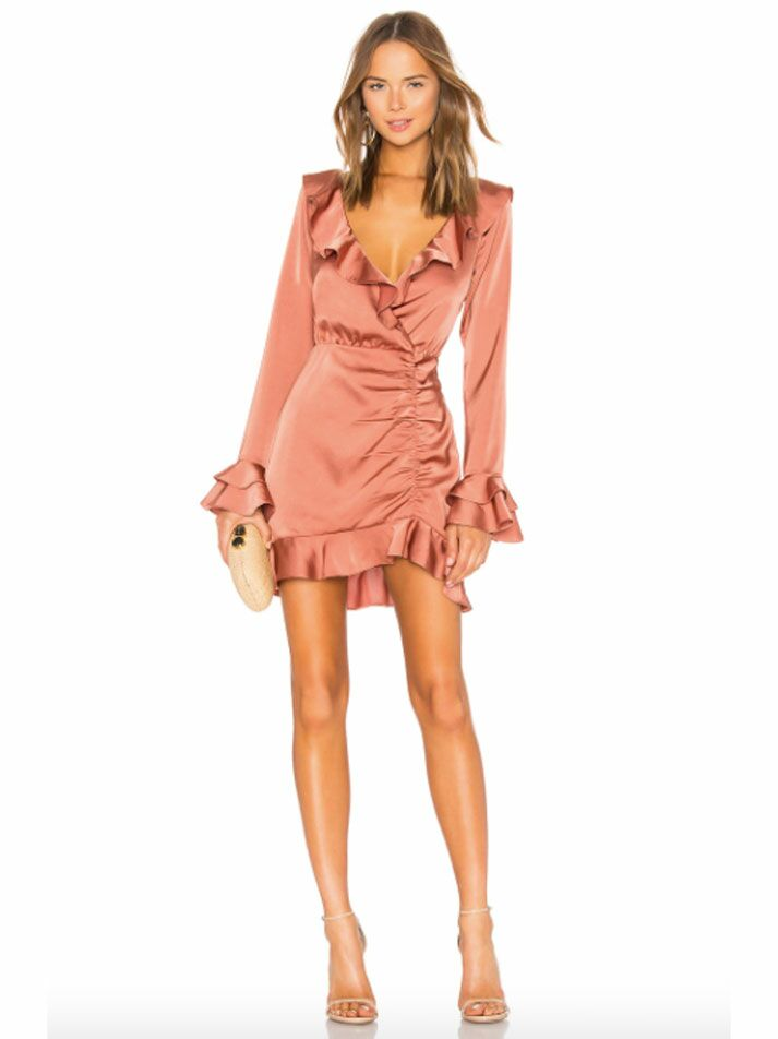 Rusty pink satin long sleeve formal fall wedding guest dress with ruffles