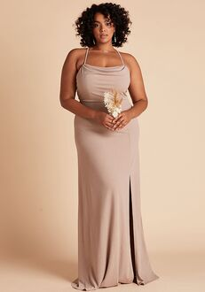 Birdy Grey Ash Crepe Dress Curve in Taupe Scoop Bridesmaid Dress