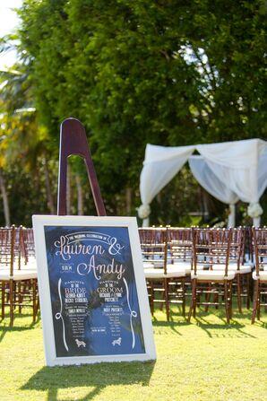 Black, White and Blush Wedding Program Sign