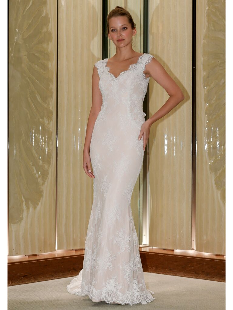 Randy Fenoli Fall 2019 Bridal Collection fit and flare wedding dress with scalloped lace neckline