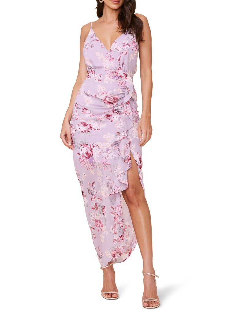 Purple and pink floral dress with ruffle on front