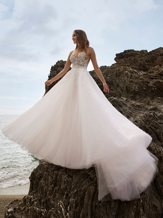 Ines by Ines Di Santo illusion A-line wedding dress