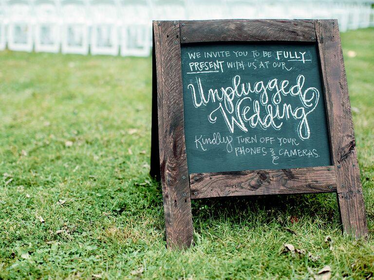 Rustic chalkboard wedding sign