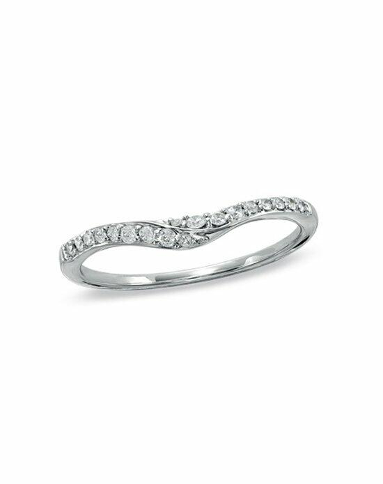 Zales 1 6 CT T W Diamond Swoop Contour Wedding Band in 14K White Gold