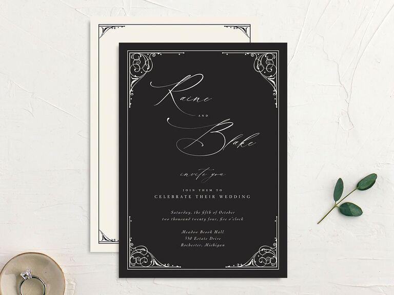 Vintage gothic wedding invitation in black and white