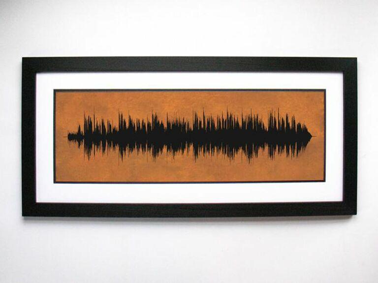 Copper sound wave art print 7 year anniversary present