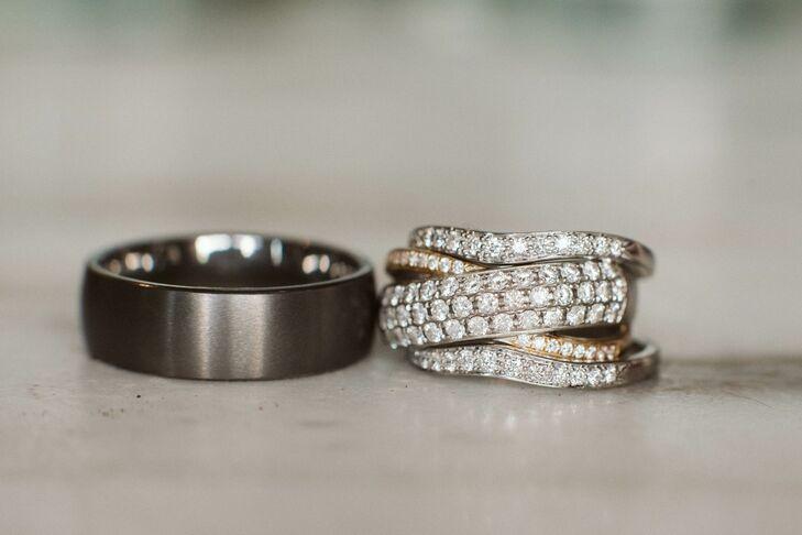 Pave Diamond Ring and Charcoal Wedding Band