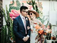 coral, retro-themed wedding in Tampa, Florida