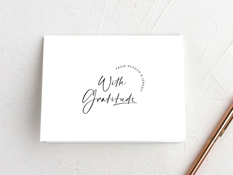 With Gratitude modern and minimalist wedding shower thank-you card