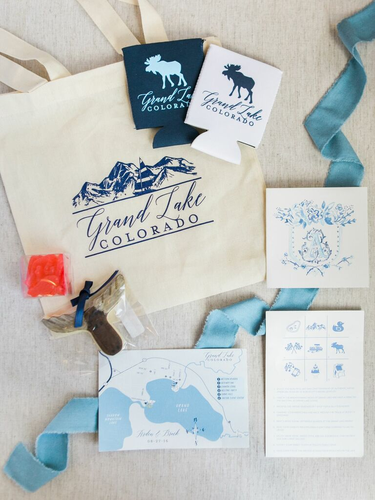 Rustic blue-and-white stationery with moose motif
