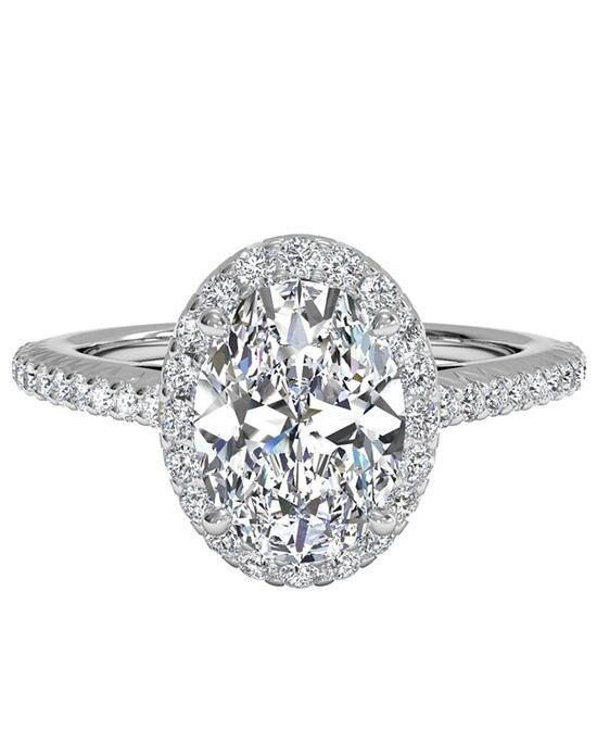 Ritani French-Set Halo Diamond Band Engagement Ring - in 14kt White Gold (0.21 CTW) for a Oval Center Stone Engagement Ring photo