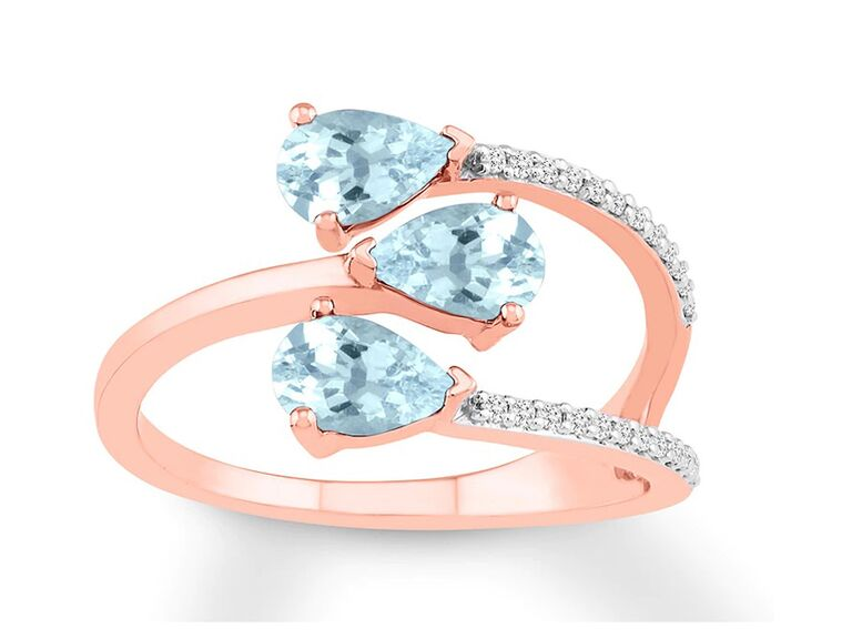 jared three pear shaped aquamarine engagement ring with diamonds and rose gold band