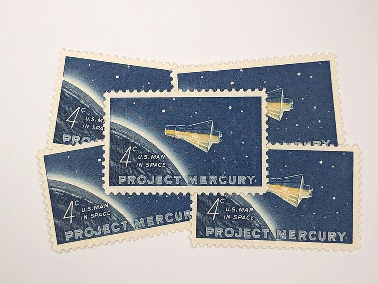 Space-themed design with vintage type reading 'Project Mercury'