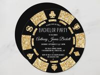 Gold glitter and black poker chip design with event details in playful type