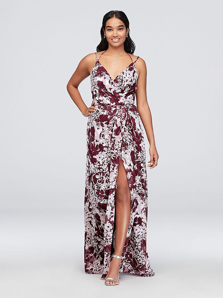 Red floral bridesmaid dress with double straps