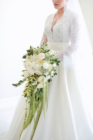 Elegant Bouquet with White Roses, Greenery and Amaranthus