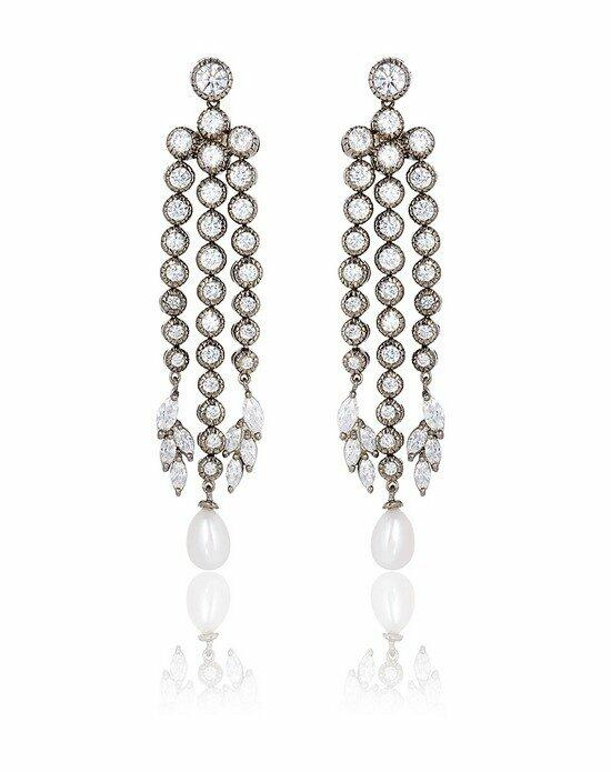 Thomas Laine Grace Teardrop Pearl Chandelier Earrings Wedding Earrings photo