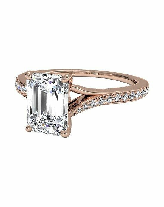 Ritani Emerald Cut Engagement Ring with Modern Bypass Micropavé Diamond Band in 18kt Rose Gold (0.19 CTW) Engagement Ring photo