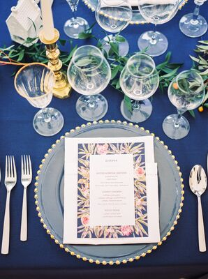 Navy and Blush Floral Menu Cards