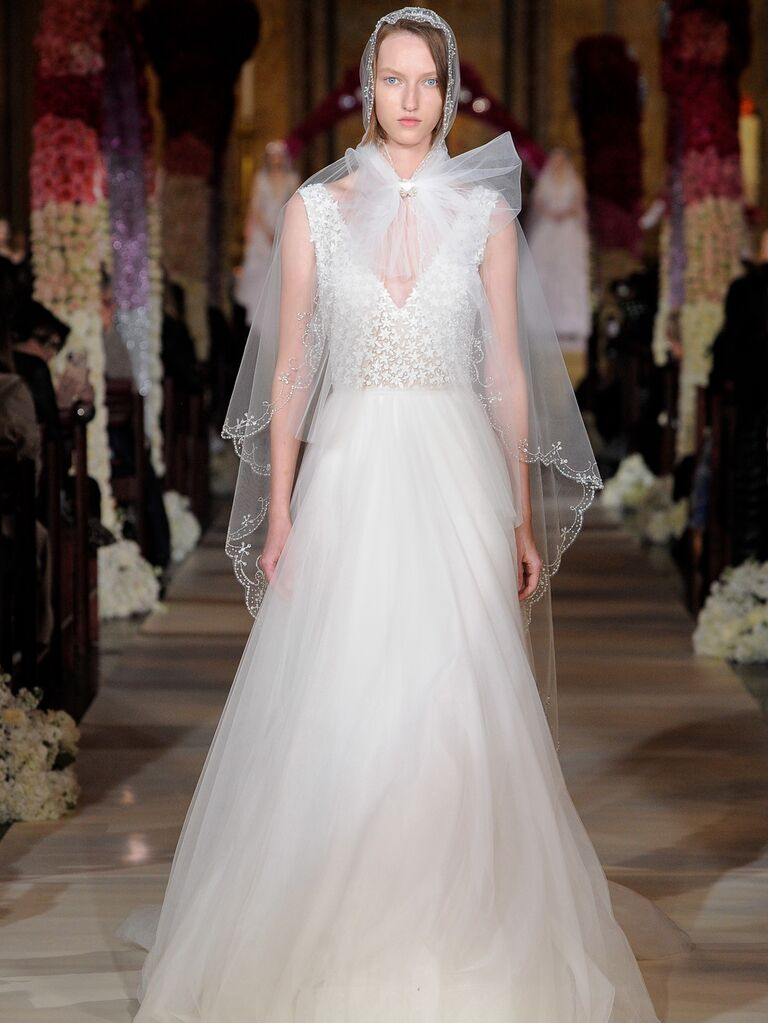 Reem Acra Spring 2020 Bridal Collection A-line wedding dress with embellished bodice and veil
