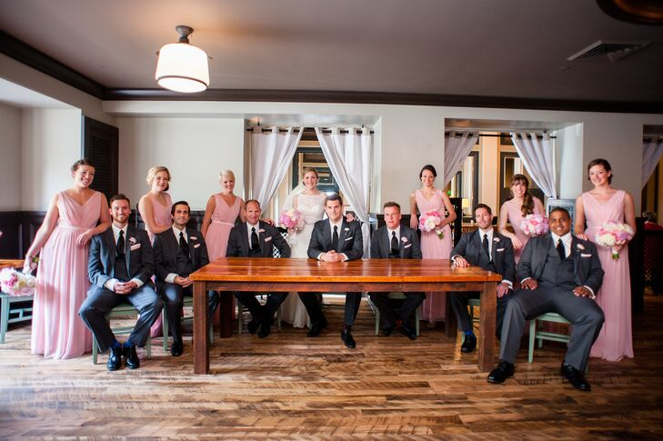 Pink and Charcoal Wedding Party
