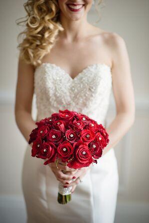 Embellished Red Rose Bridal Bouquet