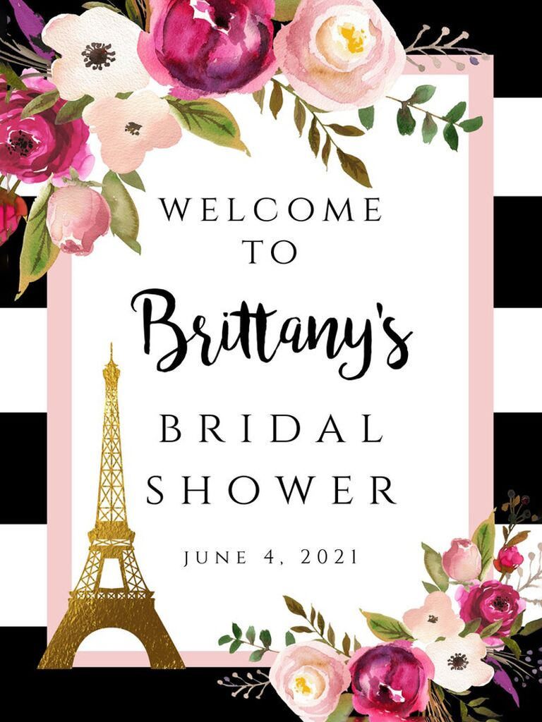 etsy black and white striped floral welcome sign with gold eiffel tower for paris themed bridal shower