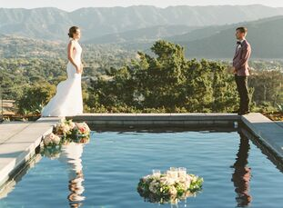 ElizabethHolzheu and Wesley Herr got married at the Old Mission Santa Inés in Solvang, California, then had a personalized backyard reception at the
