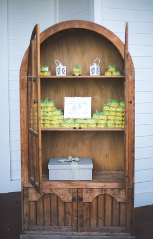 Lemon Candy Wedding Favors in Rustic Cabinet